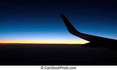 Night view from the airplane, night sky with Venus star...