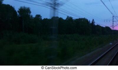Night view from train window