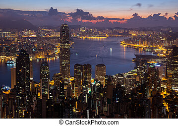 Night view from Victoria Peak in Hong Kong