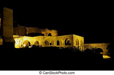 (night,  view),  GOLCONDA, Inde,  fort