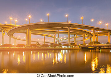 Night view highway intersection river front