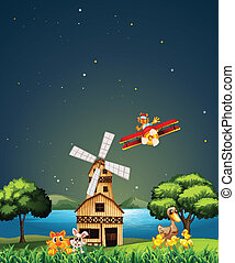 Night view - Illustration of a night view with windmill