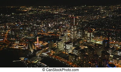 Night View in Yokohama Kobe from a height (the view from the helicopter)