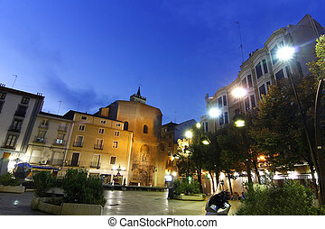 Night view of a beautiful old town square of Zaragoza
