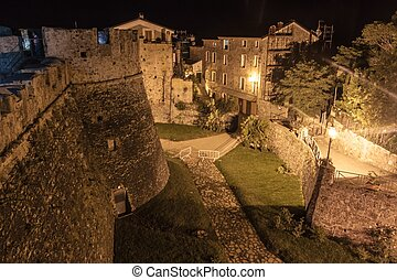 Night view of a castle in Agropoli