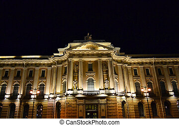 Night view of Academy of Arts in St.Petersburg, Russia