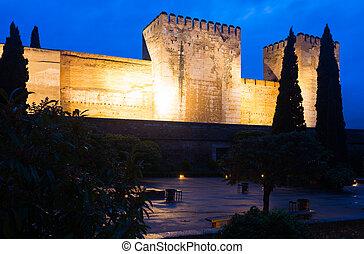 Night view of Alcazaba at Alhambra. Granada