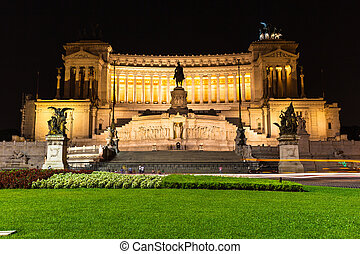 Night view of Altar of Fatherland - Night view of Altare ...