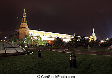 Night View of Arsenal an d Arsenal Tower of Moscow Kremlin from Manezhnaya (or Manege) Square in Moscow summer, Russia