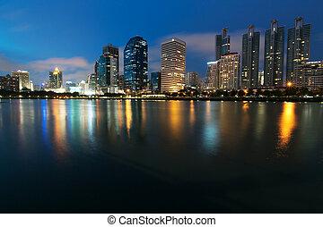Night view of Bangkok from lake Ratchada