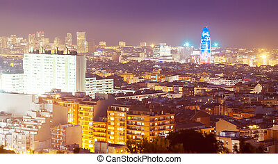 night view of Barcelona with Torre Agbar