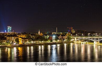 Night view of Basel over Rhine - Switzerland