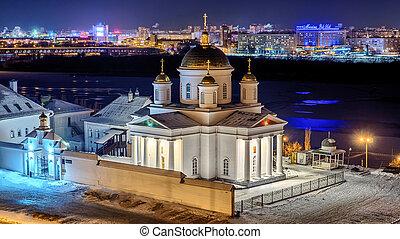 Night view of beautiful orthdox church in Nizhny Novgorod