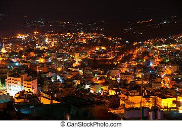 Night view of Bethlehem, Palestine, Israel