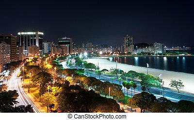 Night View of Botafogo Beach and Guanabara Bay in Rio de...