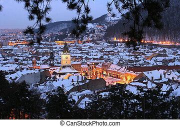 Night view of Brasov city, old town, Romania