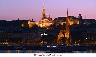Night view of Buda part of Budapest, Hungary. Matthias and...