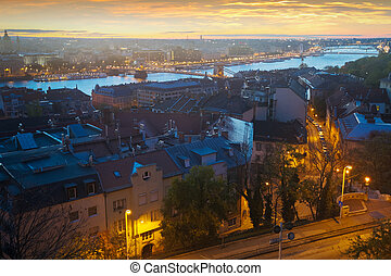 Night view of Budapest cityscape with Danube river, Hungary