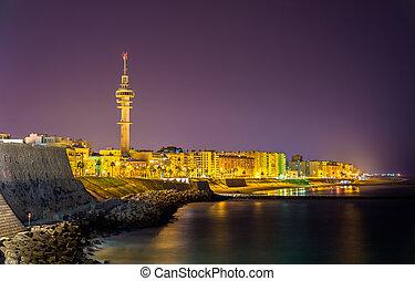 Night view of Cadiz with Tavira II Tower - Spain