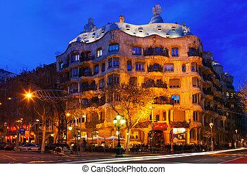 Night view of Casa Mila - BARCELONA, SPAIN - JANUARY 2,...