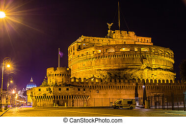 Night view of Castel Sant'Angelo in Rome