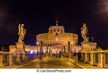 Night view of Castel Sant'Angelo in Rome, Italy