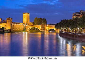 Night view of Castelvecchio in Verona, Italy.