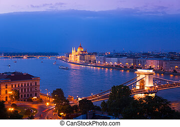 Chain Bridge and parliament in Budapest