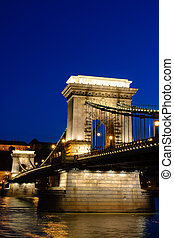 Night view of chain bridge in Budapest, Hungary