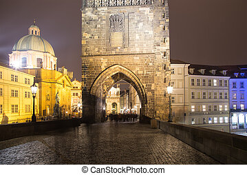 night view of Charles Bridge in Prague, Czech Republic