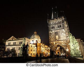 Night View of Charles Bridge in Prague