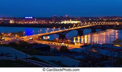 Night view of city bridge