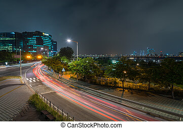 Night view of cityscape with long light