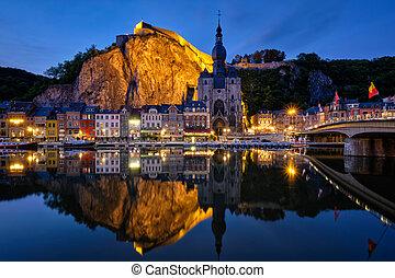 Night view of Dinant town, Belgium
