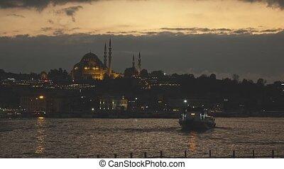 Night view of Eminonu Harbor, Beyoglu district historic...