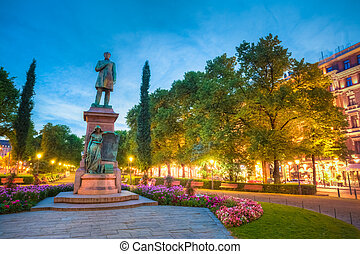 Esplanade Park. Statue Of Johan Ludvig Runeberg in Helsinki...