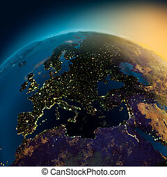 Night view of Europe from the satellite to the glowing...