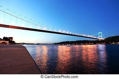 Fatih Sultan Mehmet Bridge - Night view of Fatih Sultan...