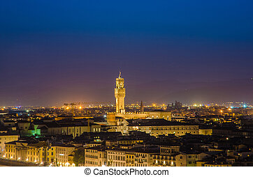 Night view of Florence in Italy
