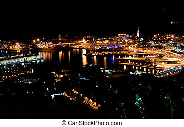 Night view of Genoa