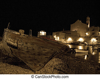 Night view of Giovinazzo. Apulia.