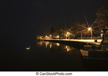 night view of Haapsalu town in winter