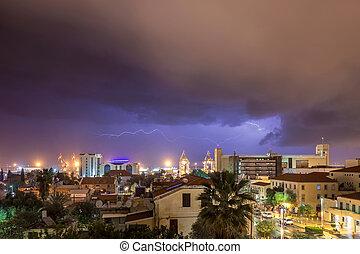 Night view of Haifa