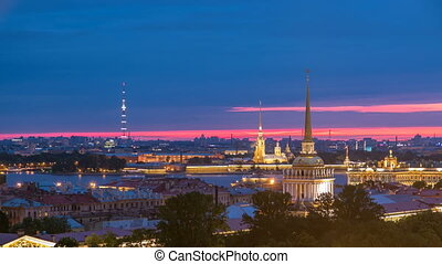Night view of historic center from the colonnade of St. Isaac's Cathedral timelapse.
