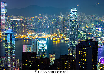 Night view of Hong Kong skyline and Victoria Harbor