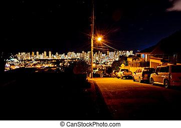 night view of Honolulu skyline