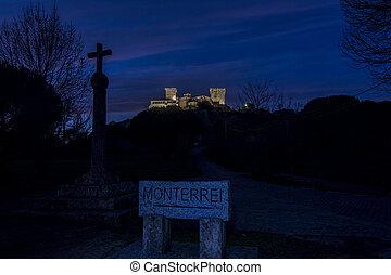 night view of illuminated monterrei castle, in Verin, Spain