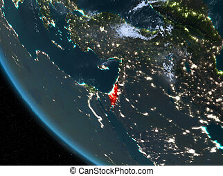 Night view of Israel on Earth