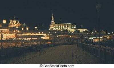 Night View Of Kazan. Panorama Time Lapse