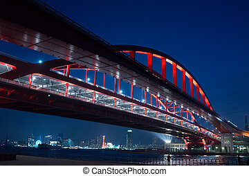 Night view of Kobe bridge in Japan